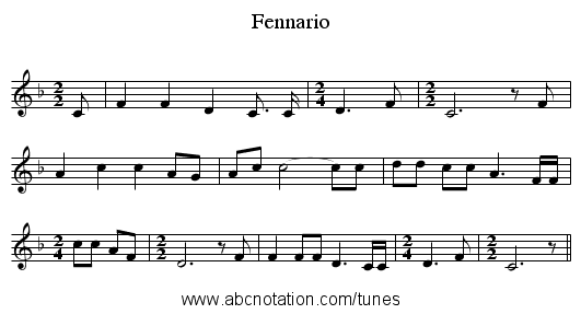 Fennario - staff notation