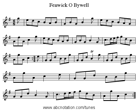 Fenwick O Bywell - staff notation