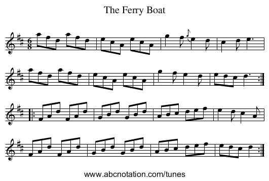 Ferry Boat, The - staff notation