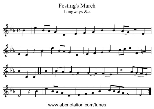 Festing's March - staff notation