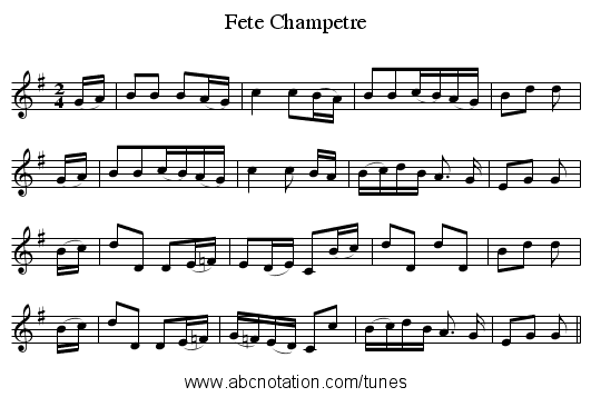 Fete Champetre - staff notation