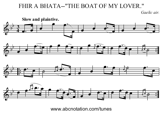 FHIR A BHATA--THE BOAT OF MY LOVER. - staff notation