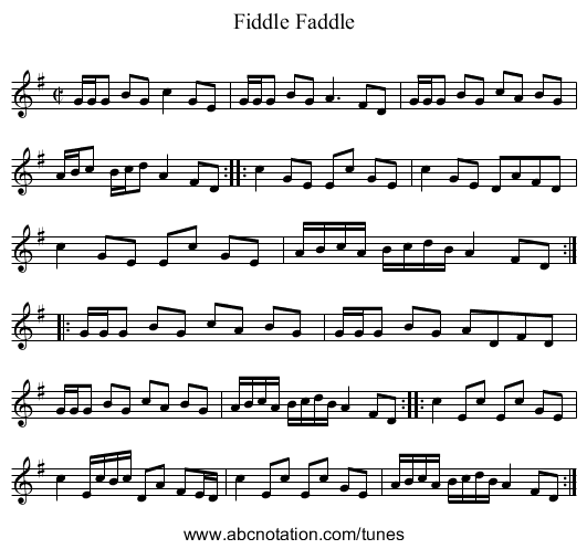 Fiddle Faddle - staff notation