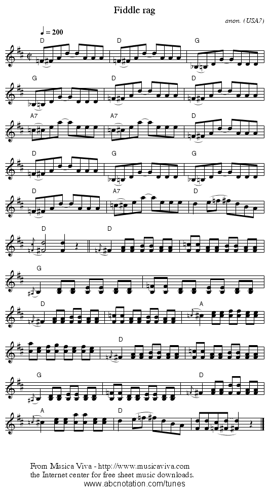 Fiddle rag - staff notation