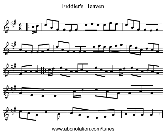 Fiddler's Heaven - staff notation