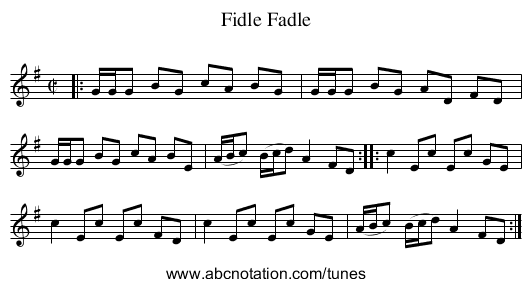 Fidle Fadle - staff notation