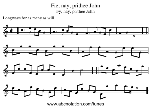 Fie, nay, prithee John - staff notation