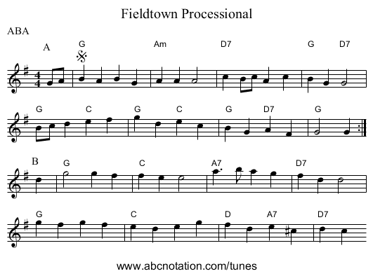 Fieldtown Processional - staff notation