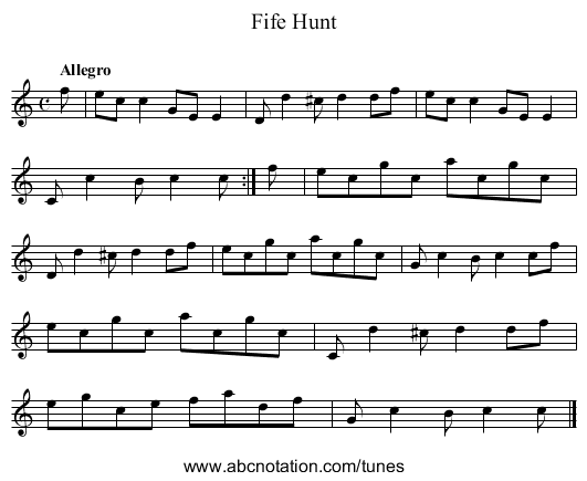 Fife Hunt - staff notation