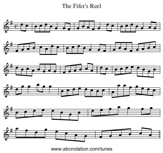 Fifer's Reel, The - staff notation