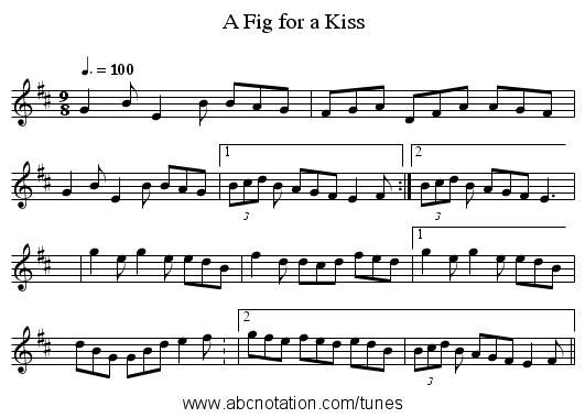 Fig for a Kiss, A - staff notation