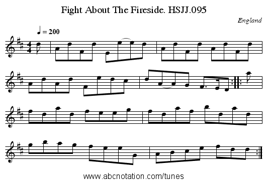 Fight About The Fireside. HSJJ.095 - staff notation