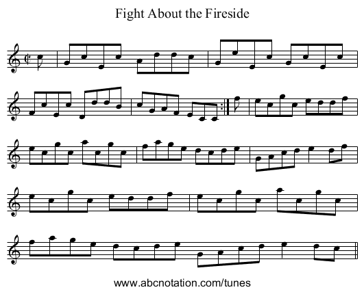 Fight About the Fireside - staff notation