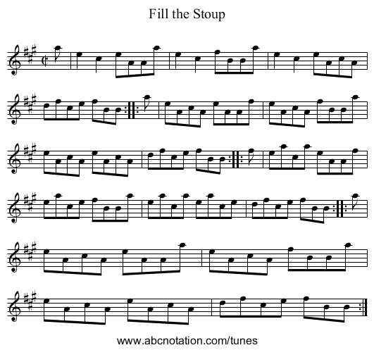 Fill the Stoup - staff notation