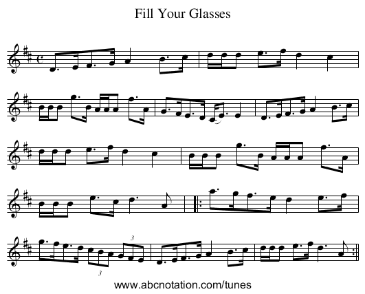 Fill Your Glasses - staff notation