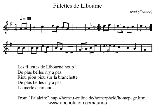 Fillettes de Libourne - staff notation