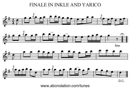 FINALE IN INKLE AND YARICO - staff notation