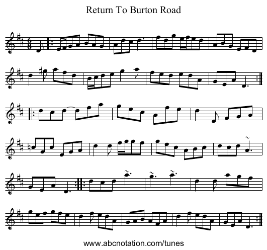 Finbar Dwyer's - staff notation