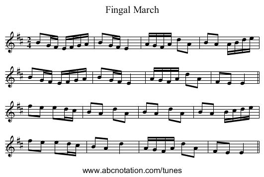 Fingal March - staff notation
