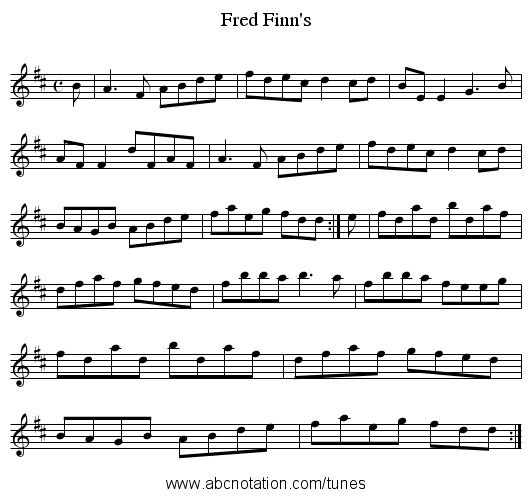 Finn's, Fred - staff notation