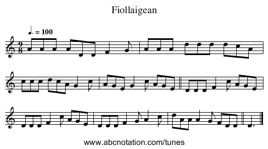 Fiollaigean - staff notation