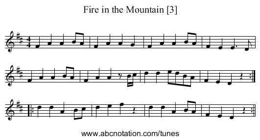 Fire in the Mountain [3] - staff notation