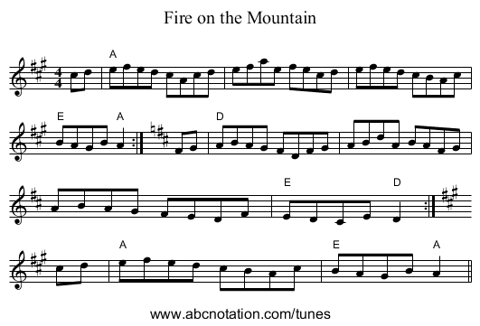 Fire on the Mountain - staff notation