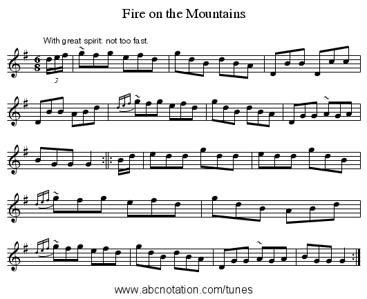 Fire on the Mountains - staff notation