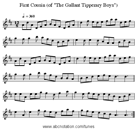 First Cousin (of The Gallant Tipperary Boys) - staff notation