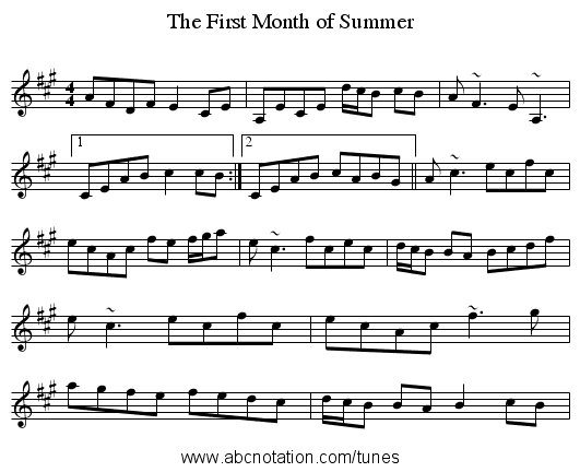 First Month of Summer, The - staff notation