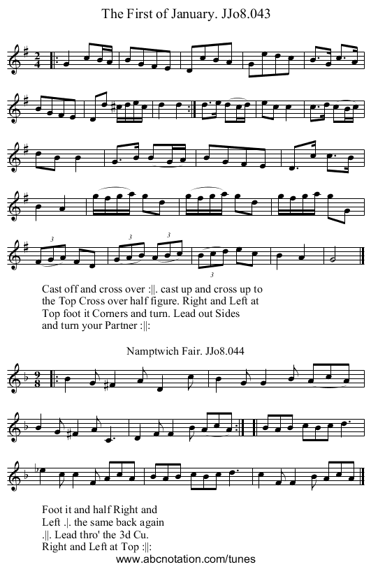 First of January. JJo8.043, The - staff notation