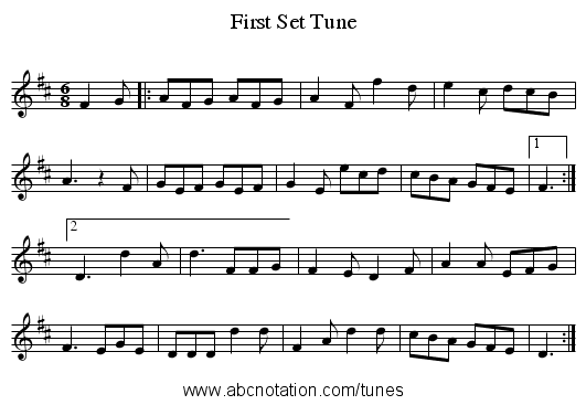 First Set Tune - staff notation