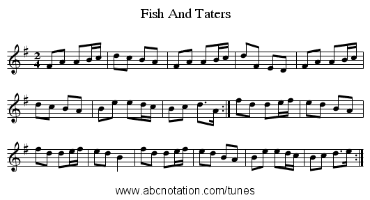 Fish And Taters - staff notation