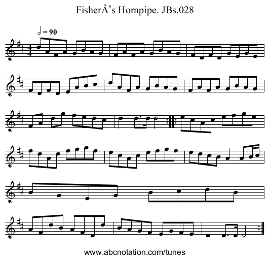 FisherÂ's Hornpipe. JBs.028 - staff notation