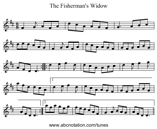 Fisherman's Widow, The - staff notation