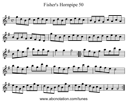 Fisher's Hornpipe 50 - staff notation