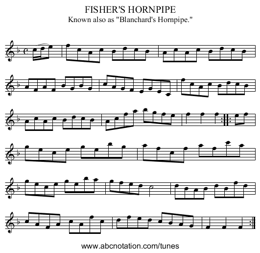 FISHER'S HORNPIPE - staff notation