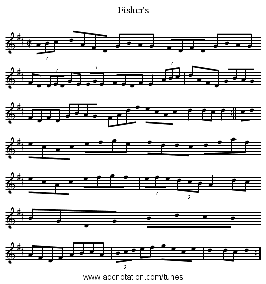 Fisher's - staff notation