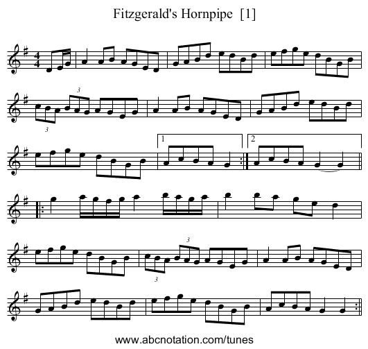 Fitzgerald's Hornpipe  [1] - staff notation