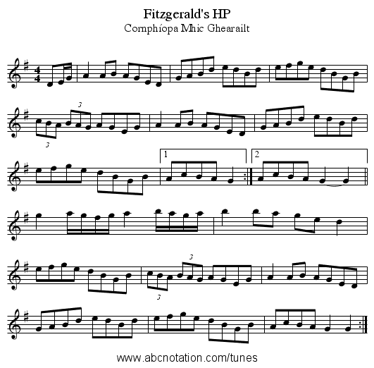 Fitzgerald's HP - staff notation