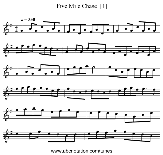 Five Mile Chase  [1] - staff notation