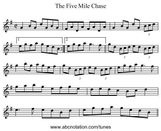 Five Mile Chase, The - staff notation