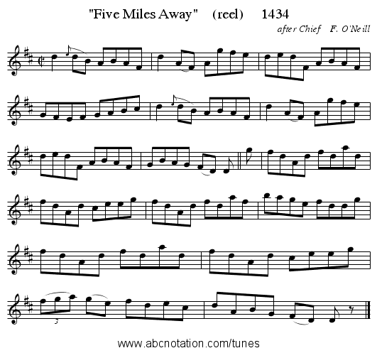 Five Miles Away    (reel)     1434 - staff notation
