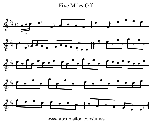 Five Miles Off - staff notation