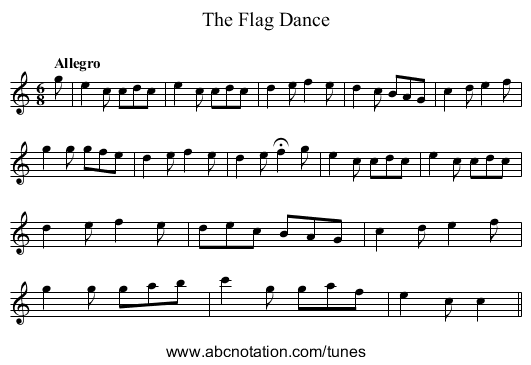 Flag Dance, The - staff notation