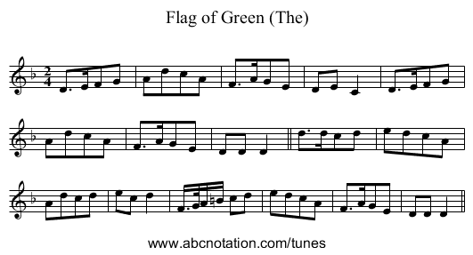 Flag of Green (The) - staff notation