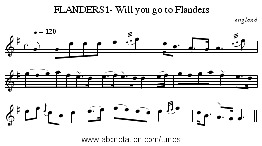 FLANDERS1- Will you go to Flanders - staff notation