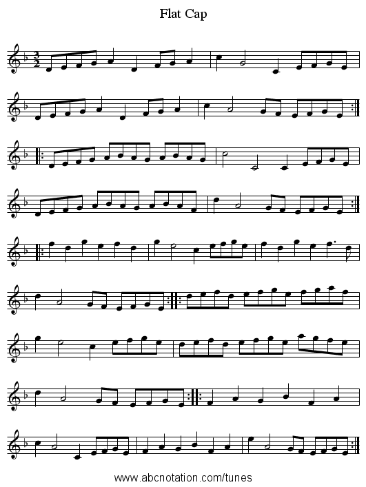 Flat Cap - staff notation