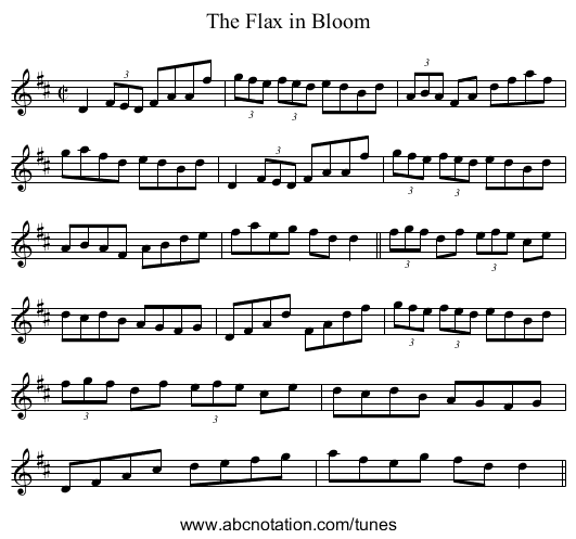 Flax in Bloom, The - staff notation