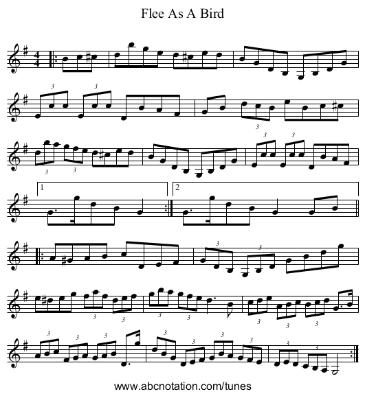 Flee As A Bird - staff notation